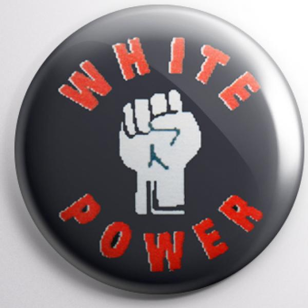Button - White Power mit Faust (rote Schrift)